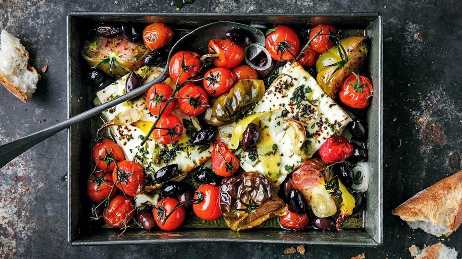 Feta al forno con pomodorini e rosmarino